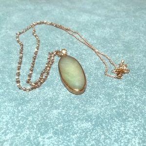 NWOT 14K plated chain & smoky light green pendant